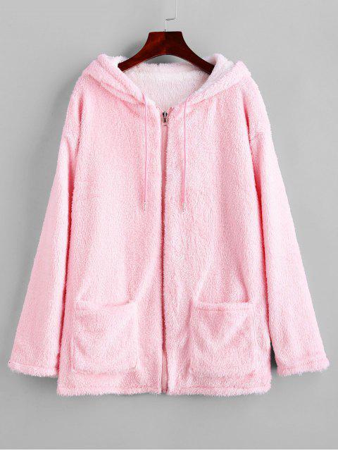 Zip Up Fluffy Kordelzug Reversible Mantel mit Kapuze - Rosa S Mobile