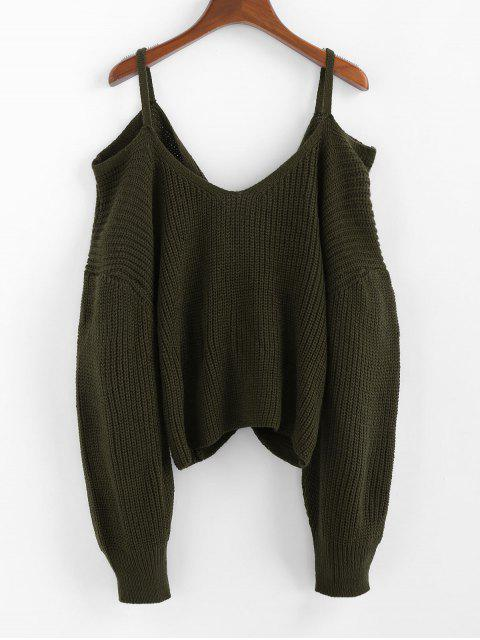 hot ZAFUL Twisted Cold Shoulder Jumper Sweater - ARMY GREEN S Mobile