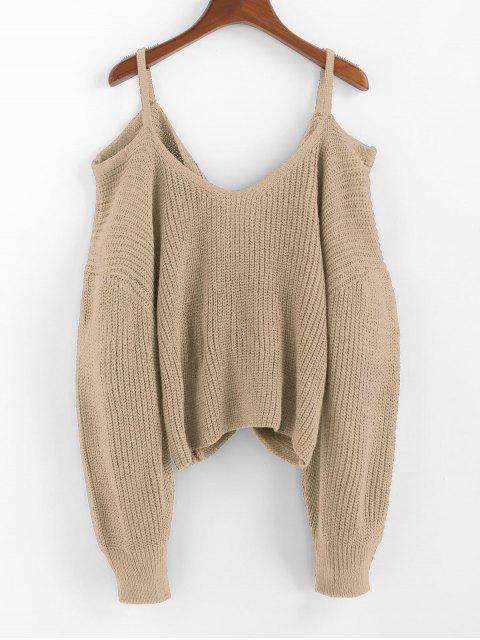 shop ZAFUL Twisted Cold Shoulder Jumper Sweater - KHAKI S Mobile