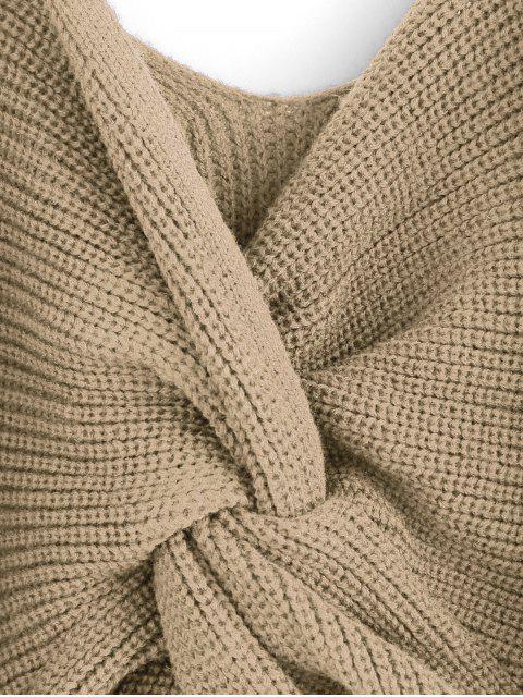 latest ZAFUL Twisted Cold Shoulder Jumper Sweater - KHAKI L Mobile