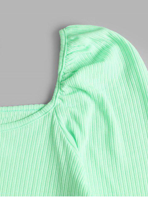 hot U Neck Neon Crop Tee - GREEN ONE SIZE Mobile