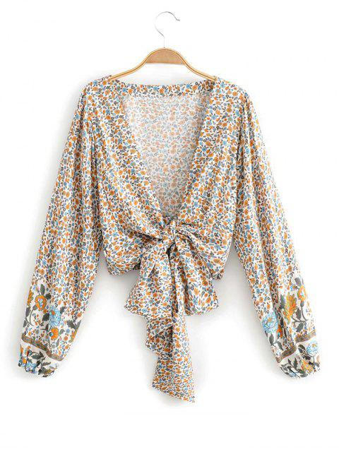 women Long Sleeve Ditsy Floral Tie Front Blouse - WHITE L Mobile