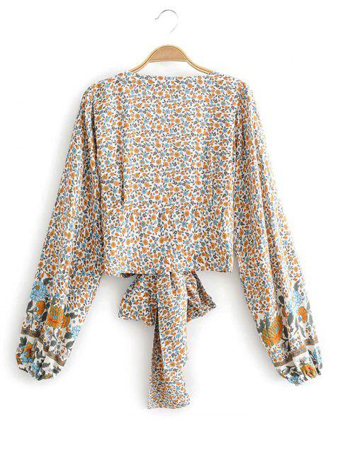 buy Long Sleeve Ditsy Floral Tie Front Blouse - WHITE S Mobile