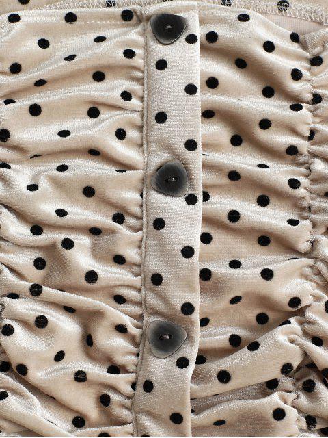 Blusa Cortada Terciopelo Lunares - Caqui Talla única Mobile