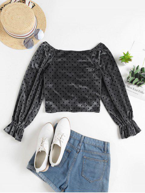 shops Polka Dot Ruched Velvet Crop Blouse - GRAY ONE SIZE Mobile