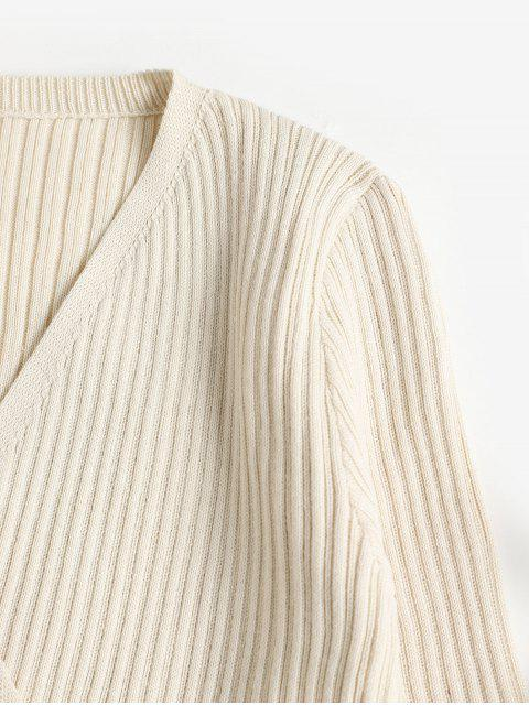 best Buttons Solid Fitted Surplice Knitwear - APRICOT ONE SIZE Mobile