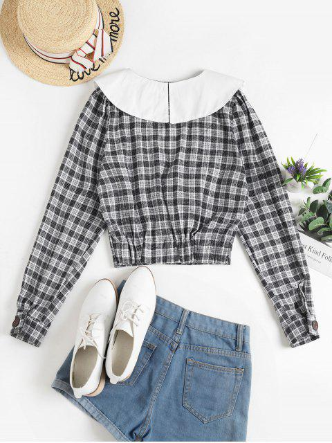 affordable Buttoned Plaid Crop Blouse - BLACK ONE SIZE Mobile