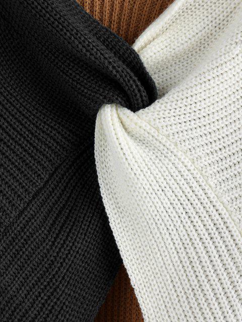 Farbblock Tiefer Ausschnitt Verdrehter Pullover - Multi-G L Mobile