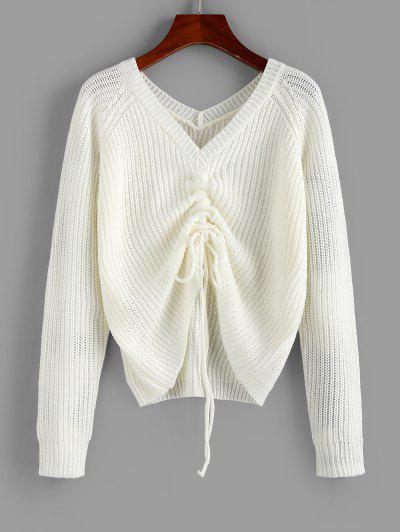 ZAFUL V Neck Shirred Ribbed High Low Sweater - Milk White M