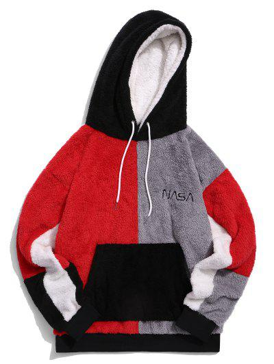 ZAFUL Color-blocking Front Pocket Faux Fur Hoodie - Multi S
