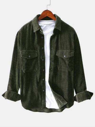 Solid Color Pocket Decoration Button Shirt - Army Green Xl