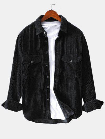 Solid Color Pocket Decoration Button Shirt - Black 2xl