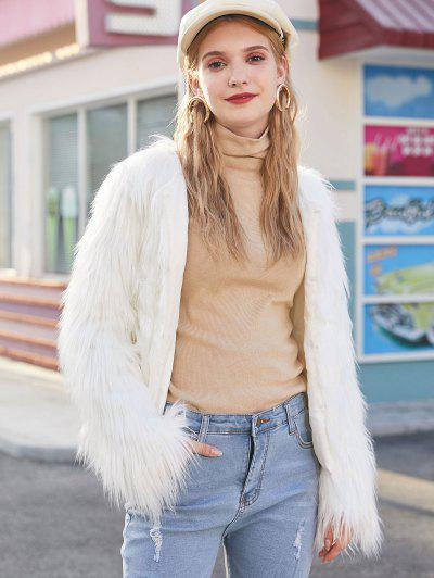 Faux Fur Shaggy Style Plush Fluffy Coat - White Xs