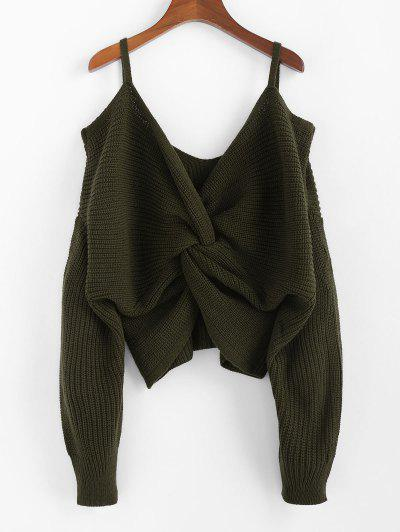 ZAFUL Twisted Cold Shoulder Jumper Sweater - Army Green L