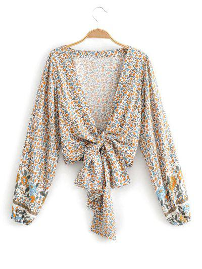 Long Sleeve Ditsy Floral Tie Front Blouse - White M