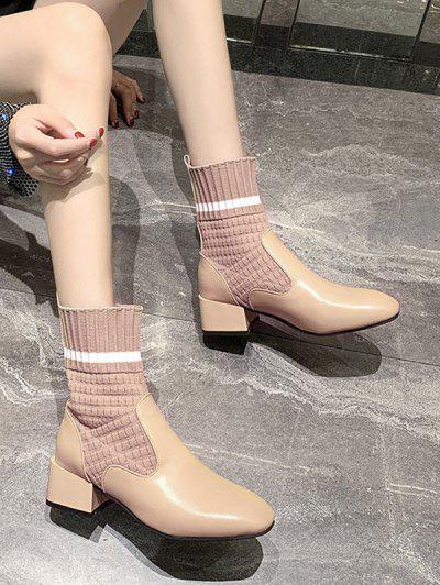 Striped Patch Sock Mid Heel Boots - Beige Eu 36