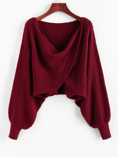 ZAFUL Overlap Batwing Sleeve Cowl Front Sweater - Red Wine S