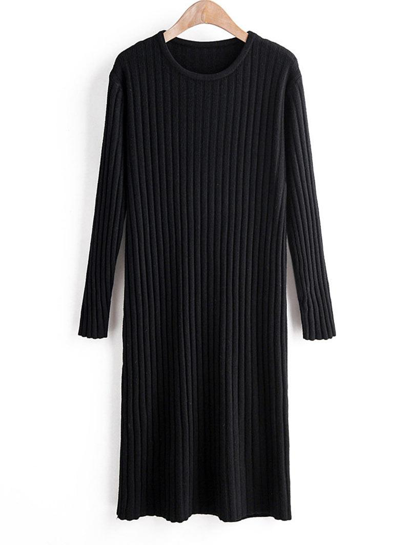 Long Sleeve Crew Neck Casual Sweater Dress