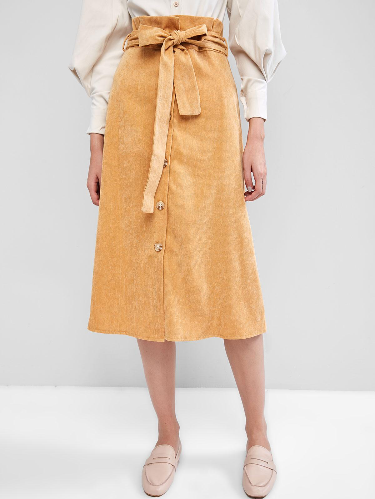 Belted Button Up Corduroy Paperbag Skirt