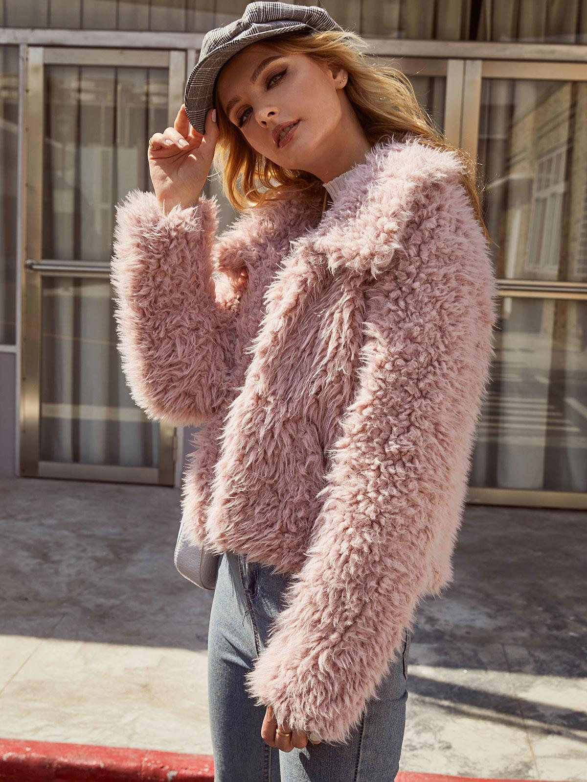 ZAFUL Open Front Solid Faux Fur Coat фото