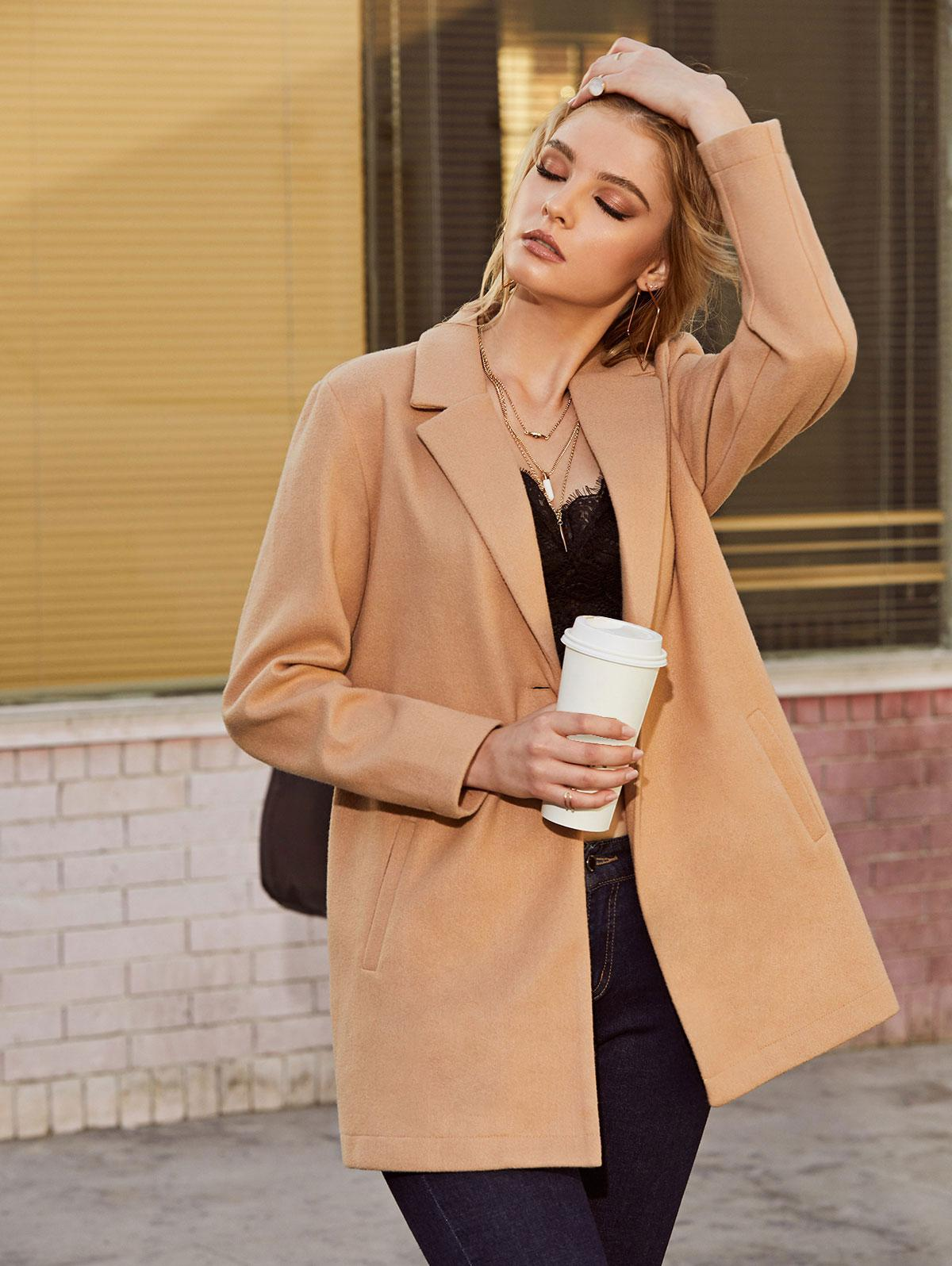 ZAFUL Notch Lapel One Button Pocket Tunic Coat