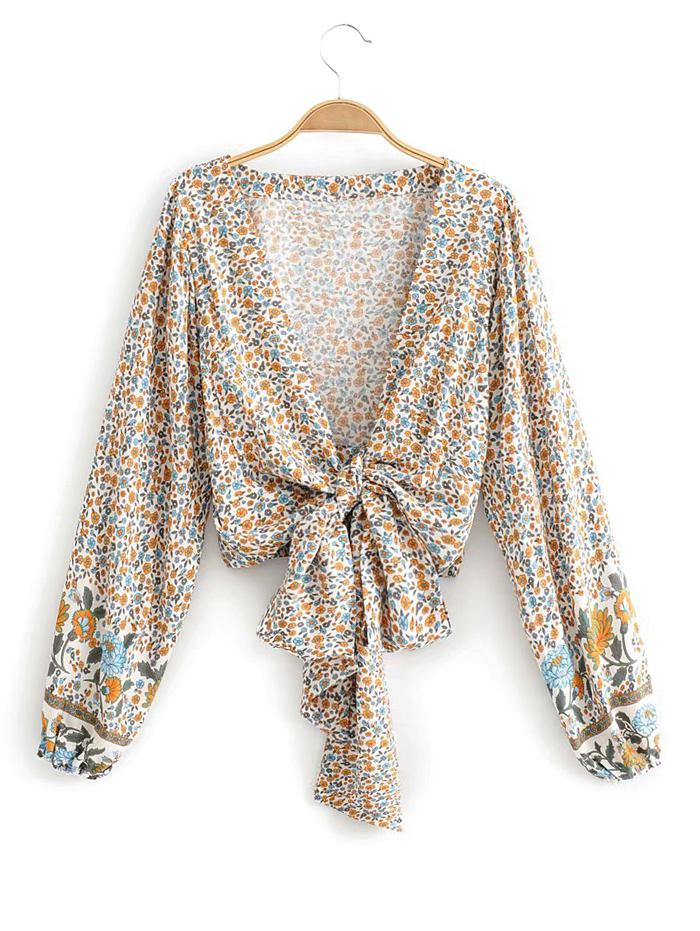 Long Sleeve Ditsy Floral Tie Front Blouse