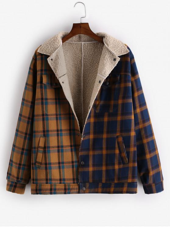 ladies Plaid Spliced Fluffy Button Up Jacket - MULTI-A S