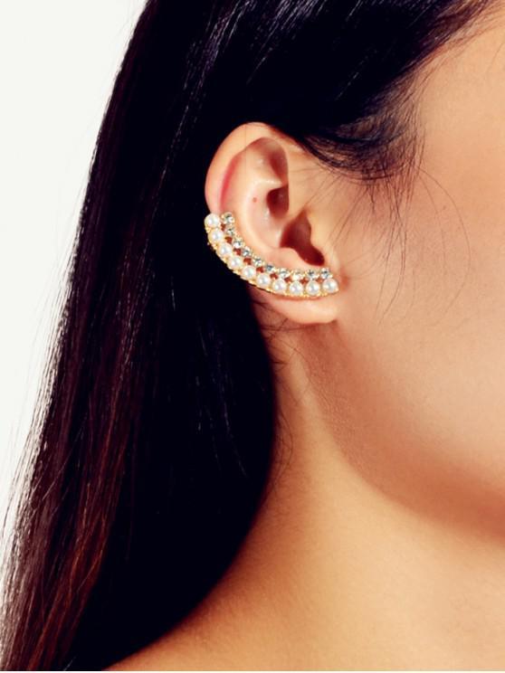 latest Faux Pearl Rhinestone Ear Cuffs - GOLD