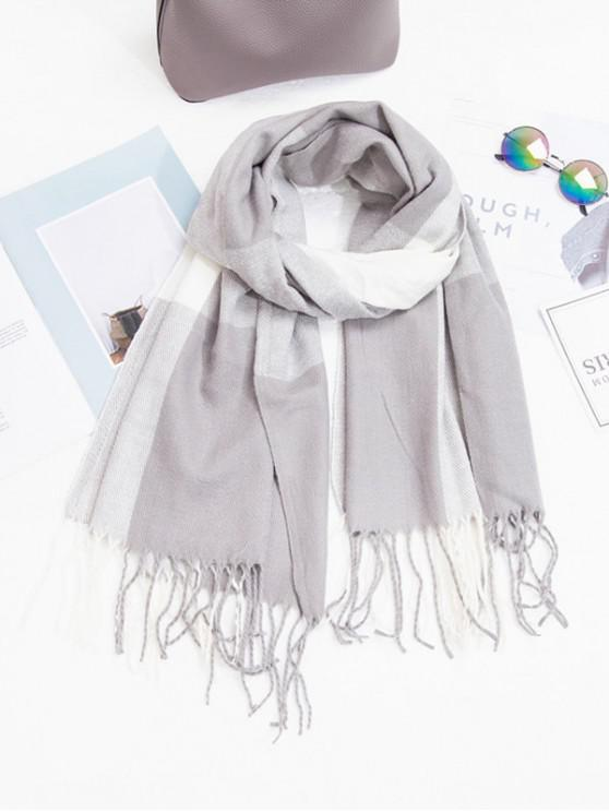 chic Checkered Fringe Winter Long Scarf - GRAY