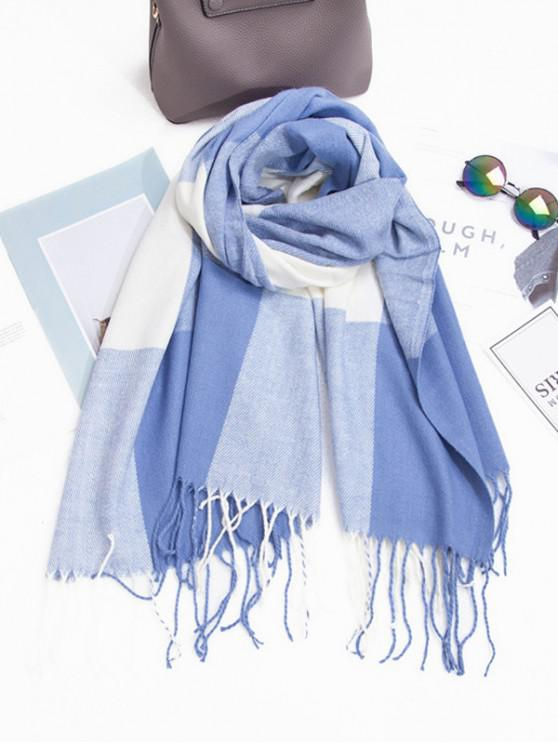 fancy Checkered Fringe Winter Long Scarf - SKY BLUE