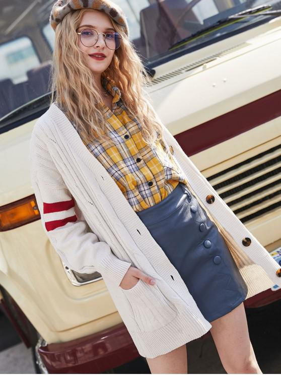 affordable Drop Shoulder Striped Pocket Button Up Cardigan - WHITE ONE SIZE