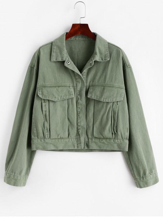 women Pockets Snap Button Shirt Jacket - CAMOUFLAGE GREEN XS
