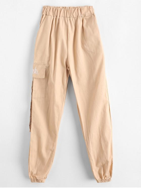 trendy Embroidered Pocket High Waisted Jogger Pants - APRICOT XS