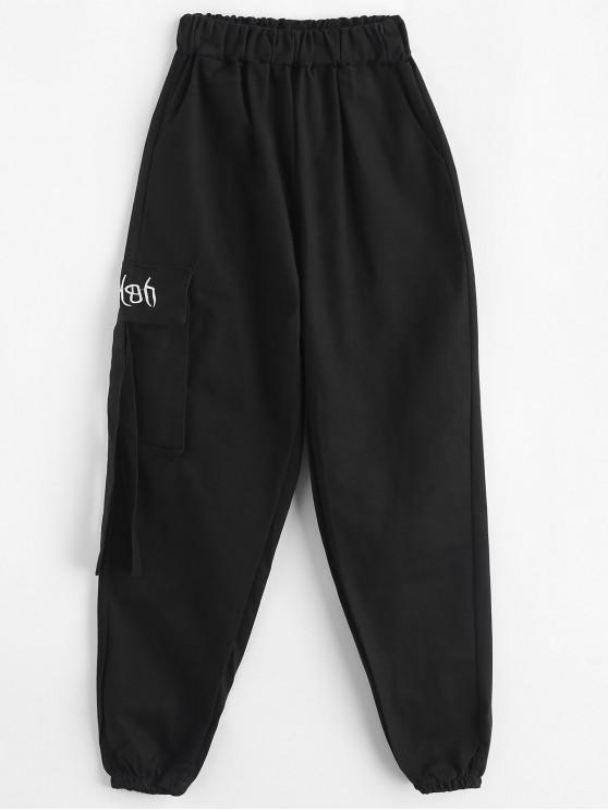 online Embroidered Pocket High Waisted Jogger Pants - BLACK S