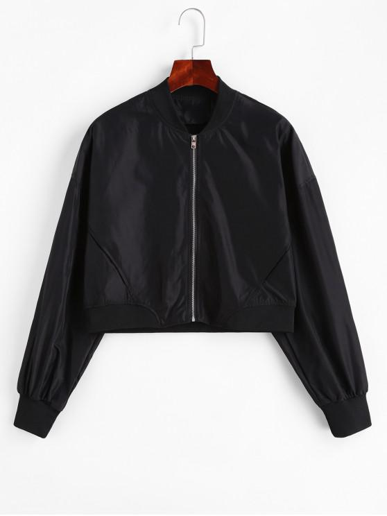 womens Solid Zip Up Pockets Bomber Jacket - BLACK S