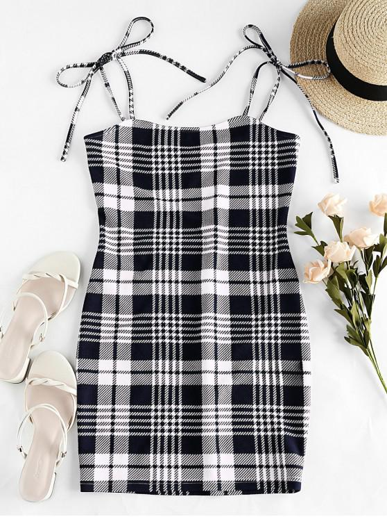 lady ZAFUL Houndstooth Plain Tie Shoulder Bodycon Dress - BLACK L
