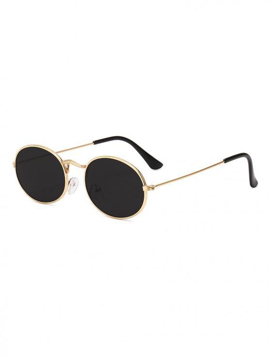 unique Metal Oval Anti UV Sunglasses - BLACK