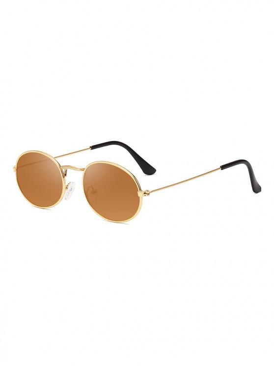 latest Metal Oval Anti UV Sunglasses - CAMEL BROWN