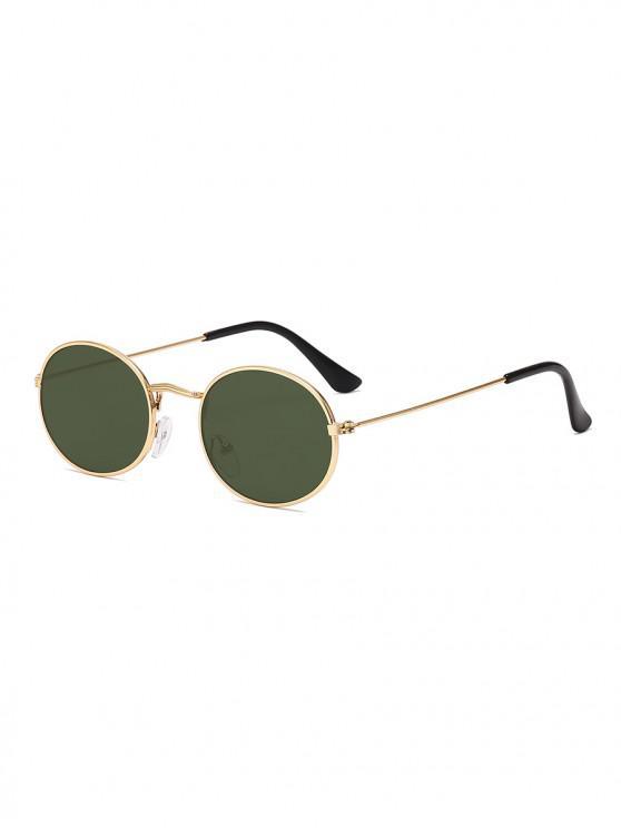 trendy Metal Oval Anti UV Sunglasses - DARK GREEN