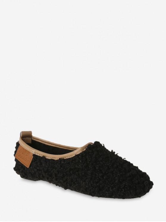 womens Faux Fur Slip On Flat Shoes - BLACK EU 42
