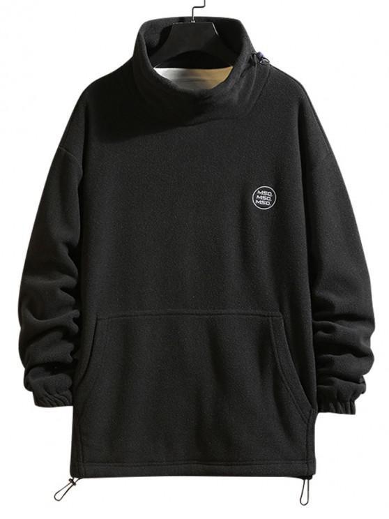 Solide Buchstabe Stickerei Pouch Tasche Vlies Sweatshirt - Schwarz 4XL
