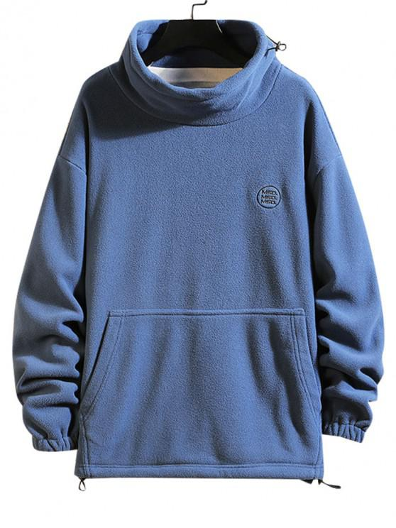 hot Solid Letter Embroidery Pouch Pocket Fleece Sweatshirt - BLUE XL