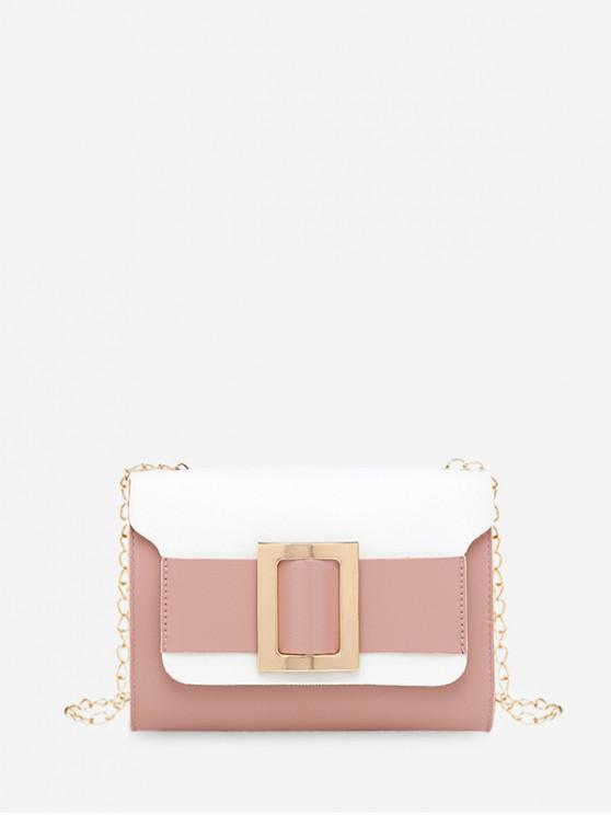 fancy Square Buckle Two Tone Chain Crossbody Bag - ROSE