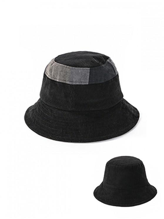 outfit Jointed Plaid Floppy Bucket Hat - BLACK
