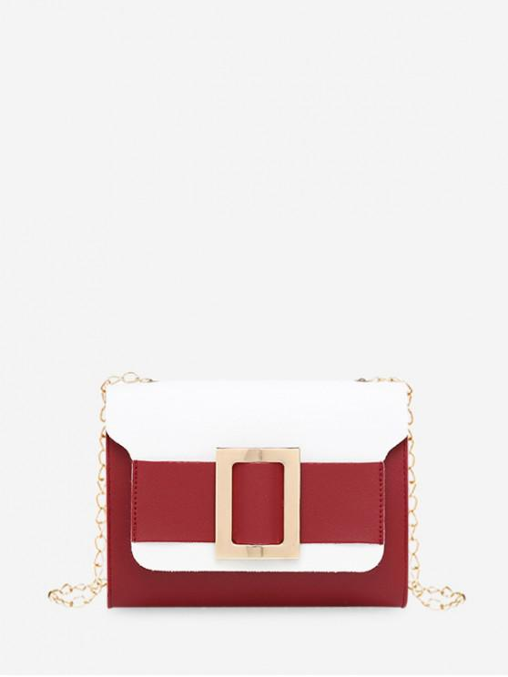 women Square Buckle Two Tone Chain Crossbody Bag - RED WINE