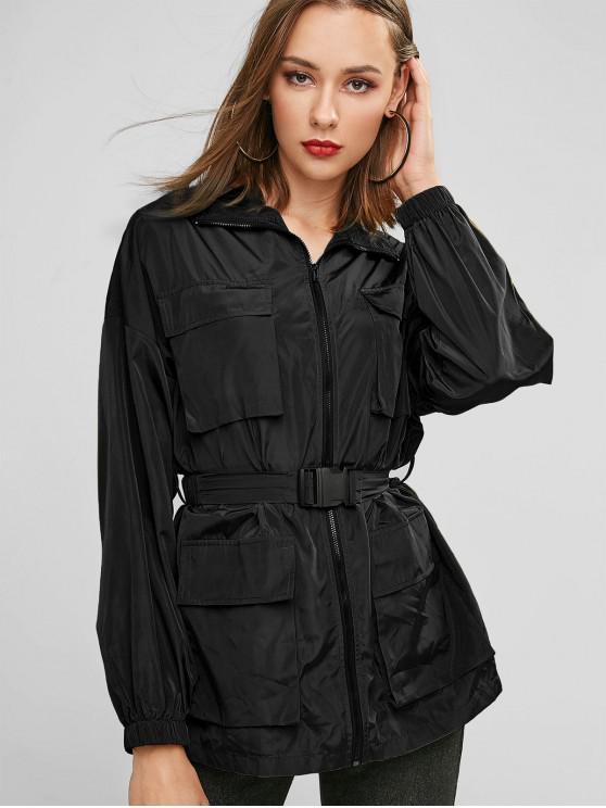 ZAFUL X Luna Montana Zip Up Tasche Solid giacca a vento - Nero S