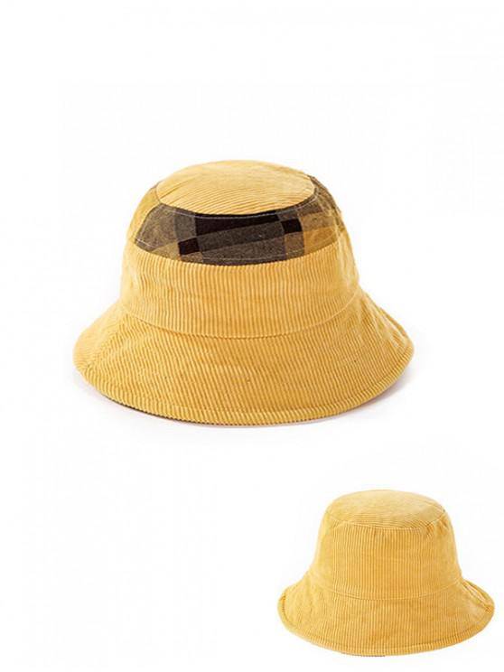 womens Jointed Plaid Floppy Bucket Hat - YELLOW
