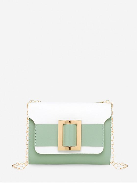 shops Square Buckle Two Tone Chain Crossbody Bag - CYAN OPAQUE