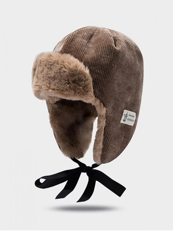 sale Winter Velour Ear Knitted Trapper Hat - CAMEL BROWN