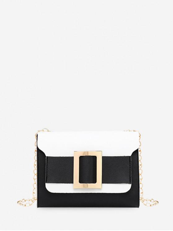 shop Square Buckle Two Tone Chain Crossbody Bag - BLACK